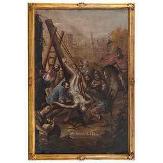 ATRIBUIDO AL BACHILLER CARLOS DE VILLALPANDO MÉXICO, SIGLO XVIII MARTIRIO DE SAN PEDRO Firmado: Villalpando Óleo sobre tela 246x150 cm | ATTRIBUTED TO