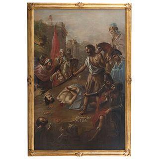 ATRIBUIDO AL BACHILLER CARLOS DE VILLALPANDO MÉXICO,SIGLO XVIII MARTIRIO DE SAN PABLO Firmado: Villalpando f Óleo sobre tela 246x159 cm | ATTRIBUTED T