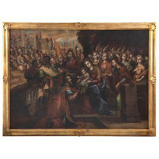 ADORACIÓN DE LOS REYES (EPIFANÍA) MÉXICO, FINALES DEL SIGLO XVII Óleo sobre tela 155 x 216 cm | ADORACIÓN DE LOS REYES (EPIFANÍA) MEXICO, LATE 17TH CE