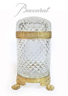 19th C. French Baccarat Crystal & Bronze Casket Box