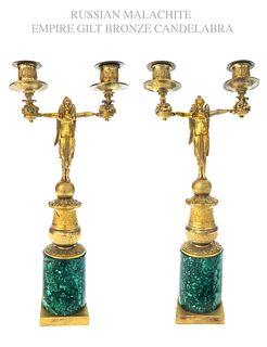 Pair of Russian Malachite & Bronze Figural Candelabras