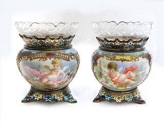 Pair of 19th C. French Champleve Enamel/Porcelain Vases