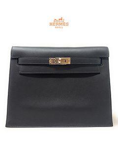 HERMES Kelly Danse Noir/Black Swift leather Bag