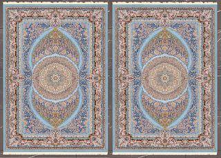 A Pair Of Persian Qom Machine-Made Silk Rugs