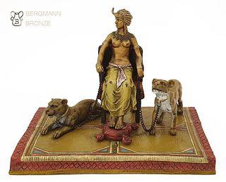 Pharaohs Lionesses, Rare Bergman Bronze Figurine Group
