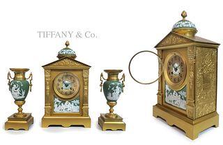 19th C. Tiffany & Co Wedgwood Clock set
