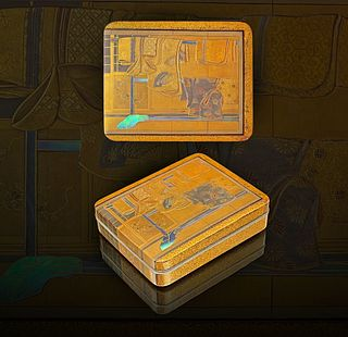 A Japanese Inlaid Lacquer Box and Cover, Meiji Period