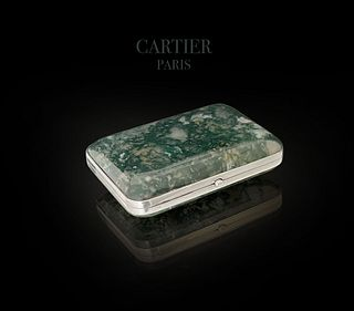 A CARTIER Moss Agate And Silver Cigarette Case