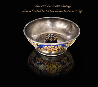 Indian Mughal Gold Inlaid Silver Guilloche Enamel Cup