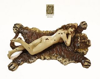 Nude Lady Tiger Rug, Rare Franz Bergman Bronze Figurine