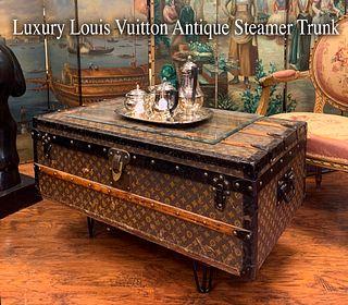 Antique Luxury Louis Vuitton Steamer Trunk/Side Table