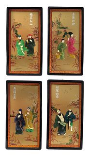 Chinese Multi Colors Wall Screen Frames, 4 Pieces