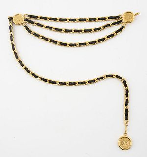 Chanel Gold-Tone Link and Black Leather Belt