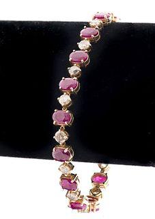 Vintage 14K Yellow Gold Diamond & Ruby Bracelet