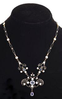 Antique 10K Silver Sapphire Pearl Diamond Necklace