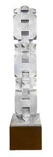 Isaac Kahn Geometric Totem in Metal