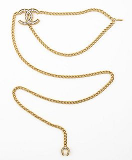Chanel Gold-Tone Link Belt with Crystal Charm