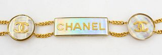 Chanel Gold-Tone Link And Lucite Belt w Charm