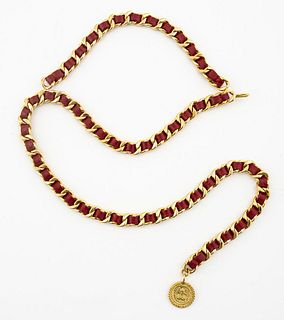 Chanel Gold-Tone Cuban Link and Red Leather Belt