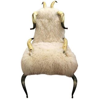 Horn Chair with Mongolian Lambs Wool Upholstery