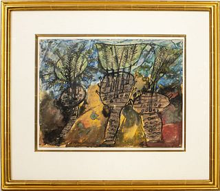 """Jean Dubuffet """"Three Palm Trees"""" Watercolor, 1948"""