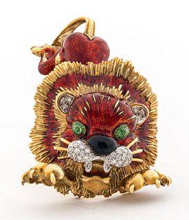 Hammerman Brothers 14K Gold & Diamond Lion Brooch