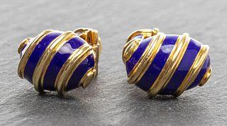 Orianne Collins 18K Gold & Blue Enamel Cufflinks