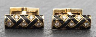 Schlumberger Attrib 18K Diamond & Enamel Cufflinks