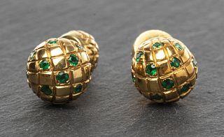 Vintage 18K Yellow Gold Emerald Dome Cufflinks