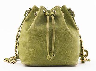 Chanel Green Caviar Leather Bucket Handbag