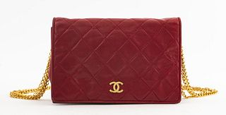 Chanel Vintage Red Quilted Leather Handbag