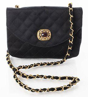 Chanel Black Quilted Satin Handbag