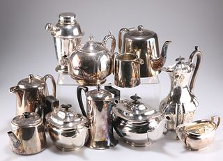 A COLLECTION OF SILVER-PLATE, including cocktail shaker, teapots, etc.