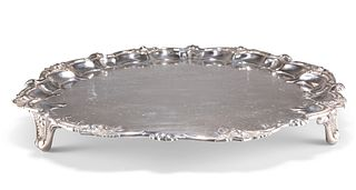 A LARGE VICTORIAN SILVER-PLATED SALVER, by Johnson & Co, Birmingham, c.1879