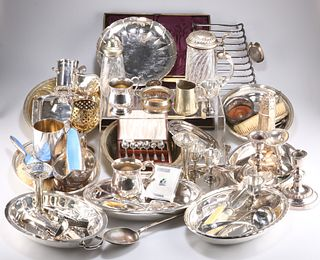 A LARGE COLLECTION OF SILVER-PLATE, including enamel-backed dressing table
