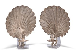 A PAIR OF 18TH CENTURY STYLE SILVER-PLATED SHELL-FORM WALL SCONCES, each wi