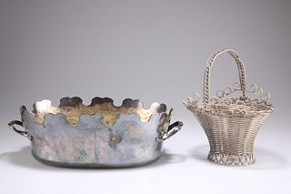 AN OLD SHEFFIELD PLATE WIREWORK BASKET, of flared oval form with fixed hand