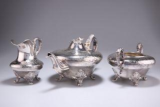 A WILLIAM IV SILVER-PLATED THREE-PIECE TEA SERVICE, c.1830, comprising teap