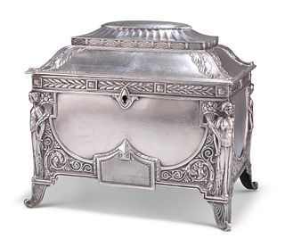 A GERMAN NEO-CLASSICAL REVIVAL SILVER-PLATED CASKET,?by?Wurttembergische Me