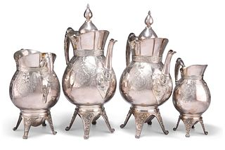 AN AMERICAN SILVER-PLATED FOUR-PIECE TEA AND COFFEE SERVICE, IN THE AESTHET