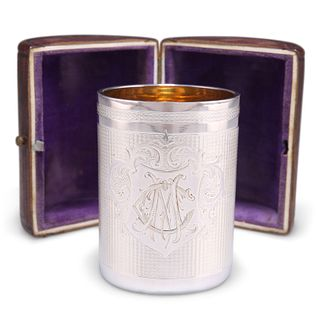 A LATE 19TH CENTURY ENGINE-TURNED BEAKER CUP, cylindrical, engraved with a