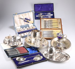 A LARGE COLLECTION OF SILVER-PLATE, including an Old Sheffield Plate snuffe