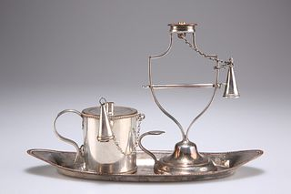 A GROUP OF OLD SHEFFIELD PLATE, comprising bougie box, snuffers tray and wa