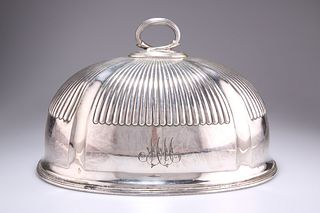 A VICTORIAN SILVER-PLATED MEAT COVER, oval, partially reeded, engraved with