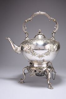 A VICTORIAN SILVER-PLATED SPIRIT KETTLE ON STAND, chased with scrolling fol