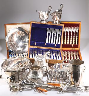 A LARGE COLLECTION OF SILVER-PLATE, including boxed flatware, breakfast war