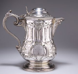 A LARGE 19TH CENTURY SILVER-PLATED FLAGON, with mask-form spout and beaded