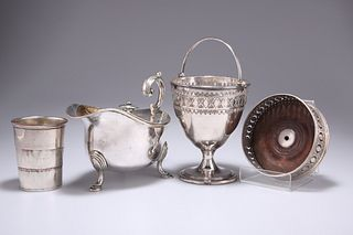 A GROUP OF SILVER-PLATE, including an Old Sheffield Plate sugar basket with