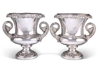 A MATCHED PAIR OF OLD SHEFFIELD PLATE WINE COOLERS, c.1820, campana form, w