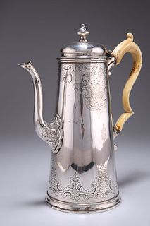 A VICTORIAN ELECTRO-PLATED COFFEE POT, by Elkington & Co, 1861, tapering cy